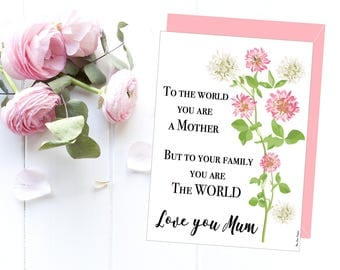 Mother's love card, Mother's card printable, Love card, Card for mum, Birthday card, Wedding card, Gift idea for mother from daughter or son
