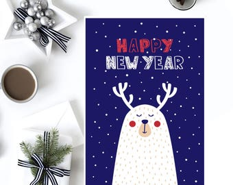 New year card printable, Greeting card printable, Card new year, New year 2018, Digital new year, Season's greetings card, New year print