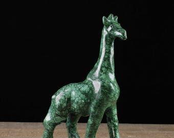 7.5 inch MALACHITE Giraffe Stone Carving - Malachite Carving, Malachite, Giraffe Figurine, Malachite Crystal, Giraffe Sculpture 36737