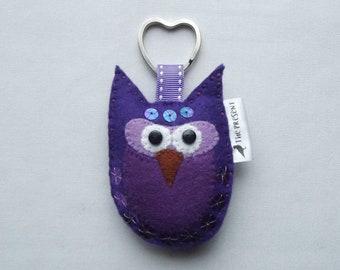 Owl Keyring, Owl Keychain, Felt Owl, Owl Keyfob, Bird, Bird Key Holder, Owl Bag Charm, Purple Keyring