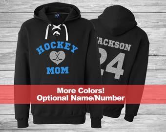 Hockey MOM Hoodie, Hockey MOM Lace Up Hoodies, Glitter Hockey Hoodie, Hockey Mom Glitter Shirt, Hockey Mom Sweatshirt, Hockey Player Hoodie