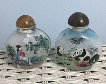 Pair of Vintage Asian Perfume Bottles