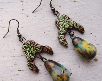 Statement Earrings/Gift For Her/Boho Earrings/Stevie Nicks Style/Tribal/Green Earrings/OOAK Earrings/Ceramic Earrings/Handmade Earrings