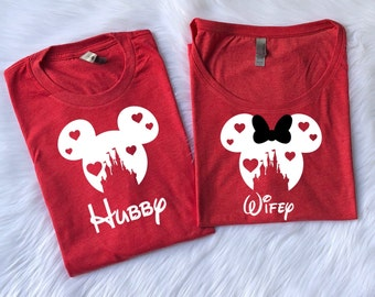 Disney Hubby and Wifey Valentine's day couple shirt, Ladies dolmas t shirt, TRIBLEND SHIRTS, valentines day shirt, matching shirts