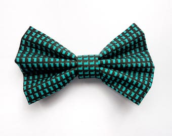 TURQUOISE CHECKERS BOWTIE - pet apparel, cat bowtie, dog bowtie, cat apparel, dog apparel