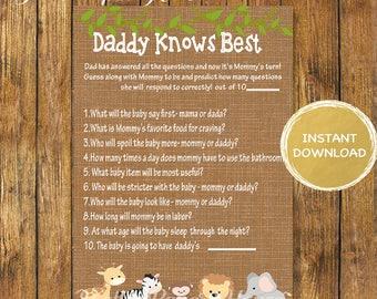 Baby Shower Safari Daddy Knows Best Game-Digital Instant Download-Baby Shower Daddy knows Best Printable Game-Jungle Games-Baby Shower Games
