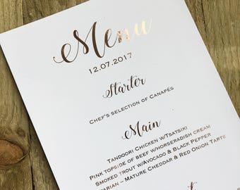 Personalised elegant wedding rose gold foil menus- wedding menus, rose gold foil