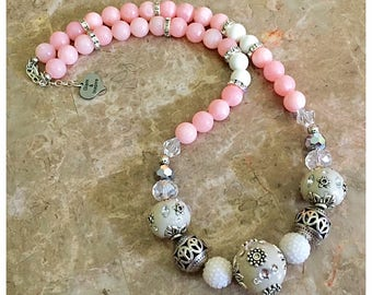 Pink and White Beaded Necklace, Pink Necklace, Gemstone Beaded Necklace, Boho Necklace, Statement Necklace