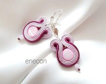 Soutache earrings Pink earrings Small earrings