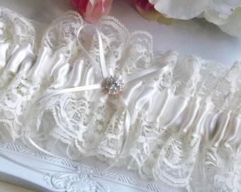 Satin Garter, Ivory garter, Bridal Garter, Lace Garter, Wedding Garter, ivory vintage garter, Boho Garter, Bridal Lingerie