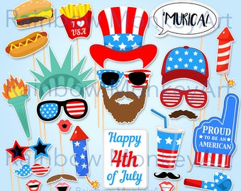 July 4th Printable Photo Booth Props - Independence Day Photobooth Props - Memorial Day Photobooth Props - America Photo Booth Props