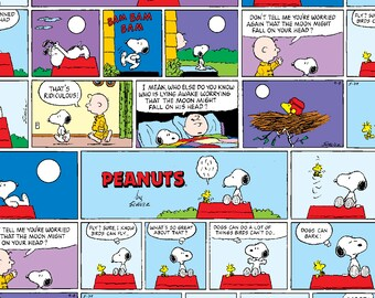 Peanuts™ Cotton Fabric Snoopy Fabric, Peanuts Sunday Comic Fabric, Snoopy Charlie Brown  Sunday Comic fabric by the yard
