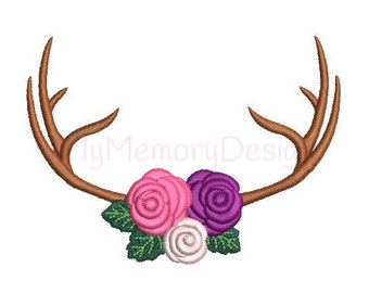 Deer antler embroidery design - Floral antler design - Animal embroidery - Machine embroidery - INSTANT DOWNLOAD - 2 sizes - 4x4 5x7