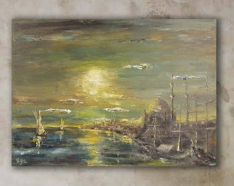 Art Oil Painting, Painting On Canvas, Classic Art, original oil painting,Istanbul,home decor