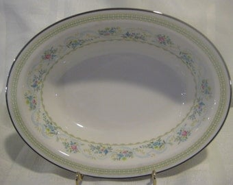 "Delight noritake ivory china oval 10"" serving bowl - blue/pink flowers, blue ribbon, platinum trim MINT"