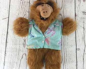 ALF Hand Puppet, Plush Puppet, Vintage Children's Toy, 1988 Burger King, Surfer Dude Stuffed Toy Alien, ALF TV Show