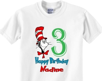 Happy Birthday Cat in the hat dr. seuss happy birthday theme add your name and age personalize tshirt