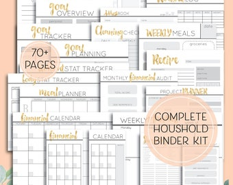 Complete Printable Home Binder - Digital Download for organisation, fitness and health, meals and planning
