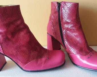 Pretty In Pink! 1960 Ankle boots Size 5 UK 38 EUR