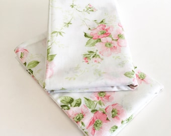 Retro Pillowcases, Pink flowers pillowcases, Vintage Pillowcases, Flowered Pillowcases