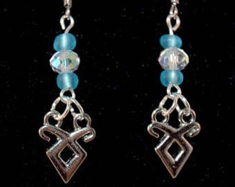 Mortal Instruments Earrings - Geeky Jewelry - Shadowhunter - Rune - Blue - Crystal - Gifts for Her - Valentine's Day - Mother's Day