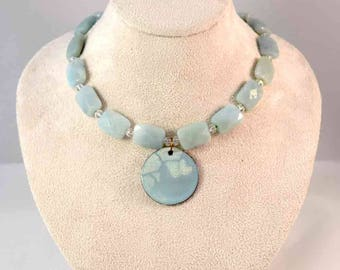 Handmade Enamel Pendant and Beaded Necklace - Green - Clear - Crystal - Jadeite - One-of-a-Kind - Gifts for Her - Christmas