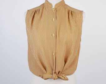 Striped Pleated Stand Collar Sleeveless Brown Vintage Women Blouse Size M