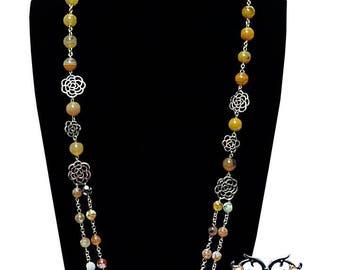 Women's long agate necklace set. 'Yellow Adaeze'