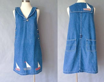 20% off using coupon! Vintage boat sailor's collar denim overall dress/overalls women's size S/M