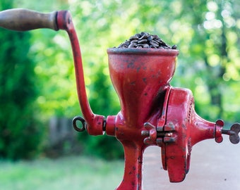 Antique Very Rare Unique Husqvarna No.5 Red Swedish Coffee Grinder, coffee mill, Kitchen Decor, Cast Iron, 1920s