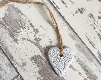 Grey Clay Mini Heart Tag - hanging heart, clay tag, ceramic tag, cottage chic, handmade heart, jar tags, gift wrapping tag, heart charm