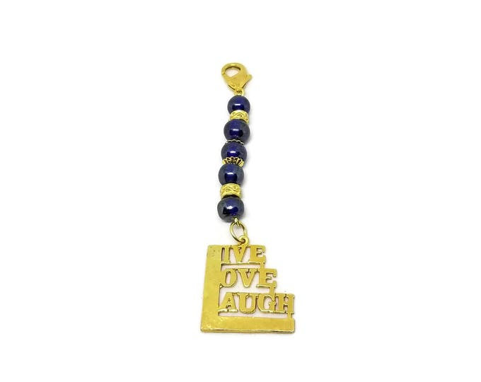 Live Love Laugh Purse Charm, Blue and Gold Zipper Pull, Gifts Under 5, Stocking Stuffer, Unique Birthday Gift, Gift for Her