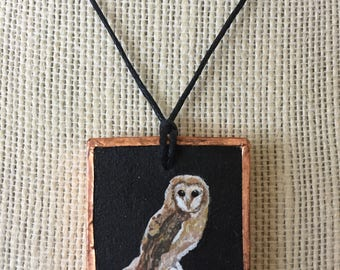 Handpainted owl necklace, Unique owl jewelry, Owl necklace jewelry, Artistic birthday gift, Owl painting pendant, Owl jewelry gift