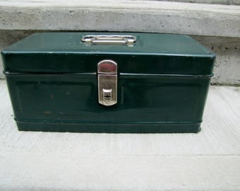 Vintage Climax Tackle Box Mid Century Metal Box Green Tackle Box Climax Tool Box Utility Metal Box Fishing Tackle Box Industrial Box