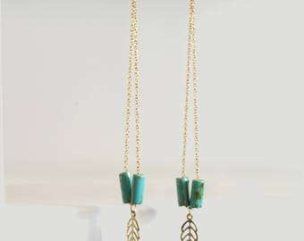 Long earrings, chain, leaf, beads