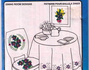 Uncut Vogart transfer pattern, dining room floral embroidery transfer
