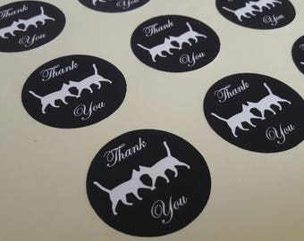 Kissing Cat Round Thank You Self Adhesive Glossy Labels Envelope Seals Stickers Wedding Favors