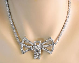 Mid Century Rhinestone Bow Choker Statement Necklace Safety Chain 15""