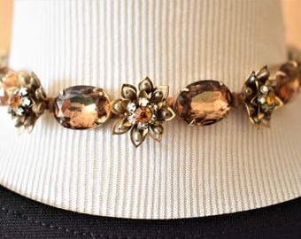 Vintage Floral Rhinestone Faux Pearl Flower Choker Necklace Topaz Color Retro Costume Jewelry 15""