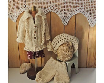 "Doll coat, doll clothing set, knitted clothes for dolls boho cream. A set of clothes for dolls, 14"" doll outfit, knitted beret, coat, pants"