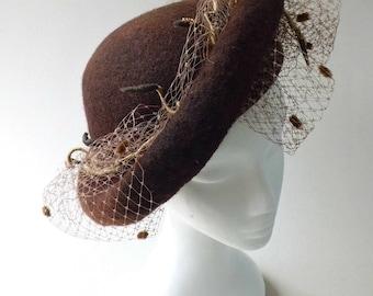 Felted hat cocktail-hat clothing-gift design elegant festive brown with birdcage veil wedding winter Stylish Evening Hat  Wide Brim Hat