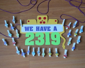 "Monster's Inc. ""2319"" Banner/Sign, Monsters Inc Baby Shower, Monsters Inc Baby,"