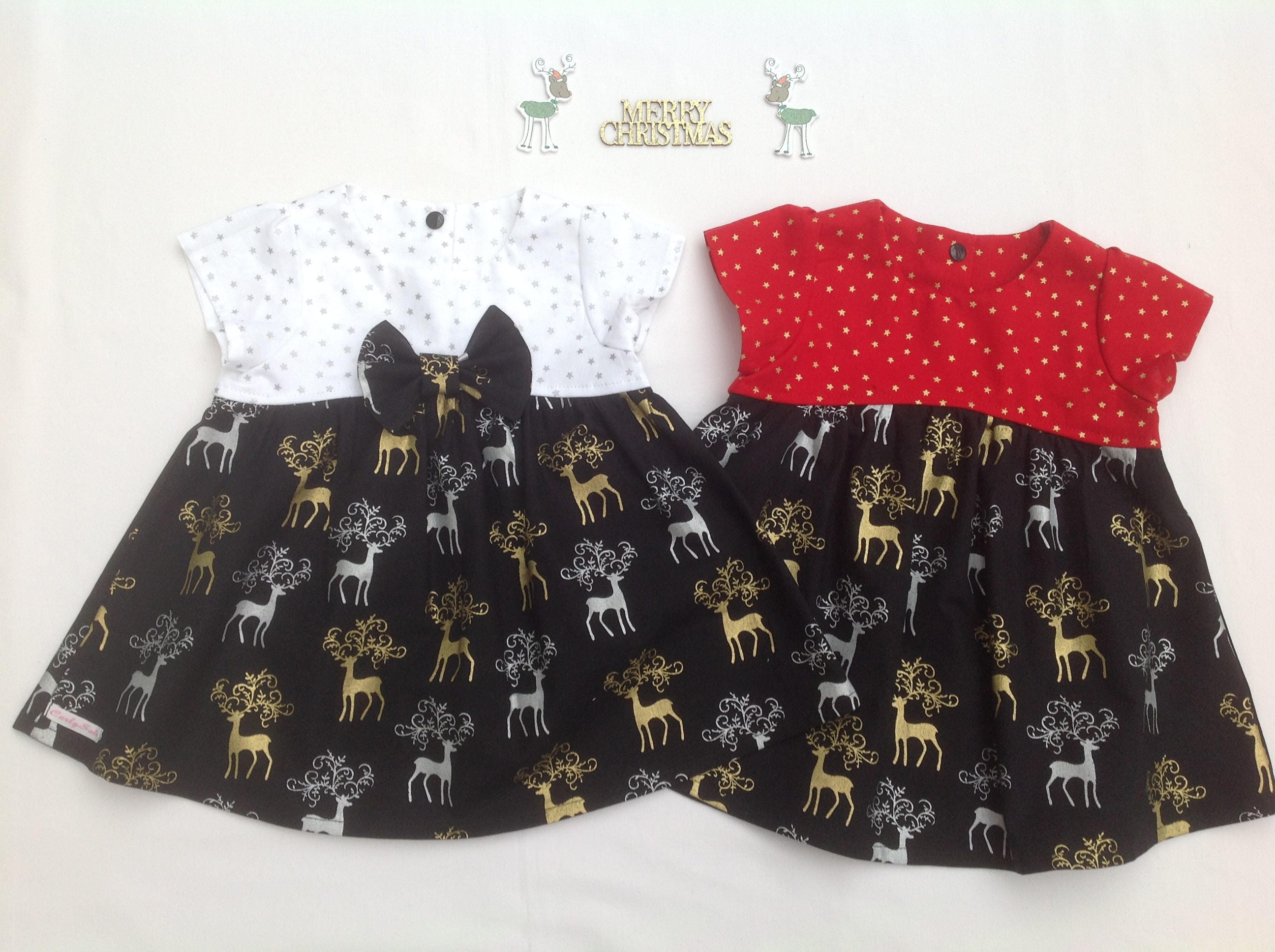 Reindeer dress girls Christmas dress Baby girls Christmas dress