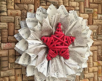 Christmas Wreath - Holiday Wreath - Paper Wreath - sheet music wreath - book page decor - piano teacher gift - rustic wedding decor