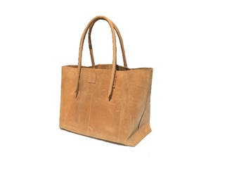 large shopper used look leather natural of Ledershopper leather bag handmade vintage-design