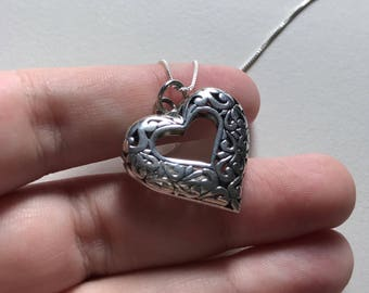Fancy Vintage Thick Filigree 925 Sterling Silver Heart Pendant Necklace