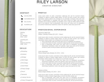 Creative Resume Template, Cover Letter, Word, US Letter, A4, CV Template, Professional Resume, Modern, Simple Resume, Instant Download Riley