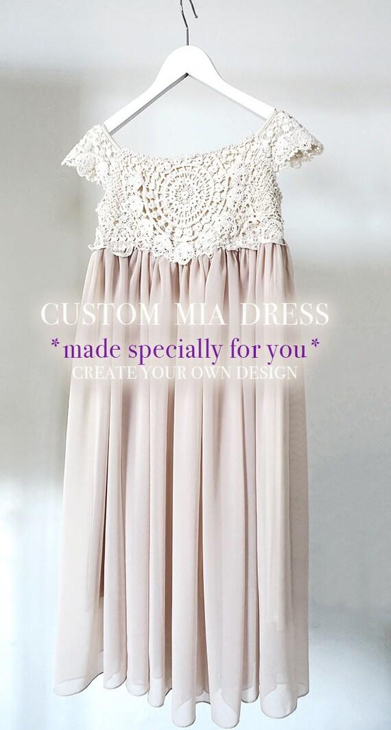Custom Made Mia Flower Girl Dress, Flower Girl Lace Dress, Rustic Flower Girl,Crochet Flower Girl, Boho Flower Girl,Ivory Flower Girl Dress