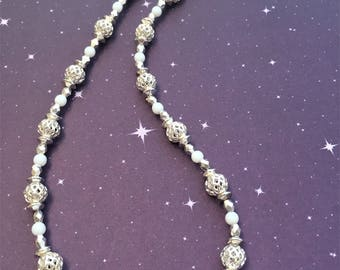Silver and White Filigree Necklace