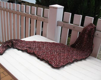 SHAWL unseen stitch LACY red and beige